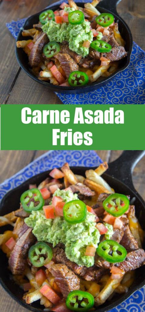 Carne Asada Fries in small skillet