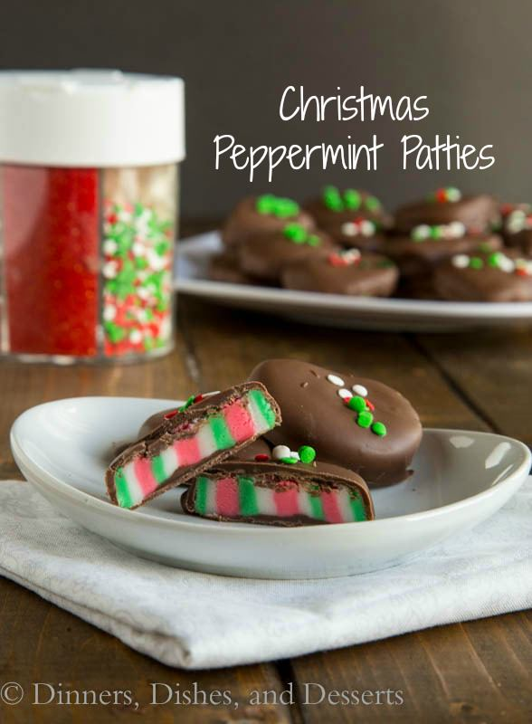 Christmas Peppermint Patties - Red, white and green striped cool mint patties dipped in dark chocolate. An easy homemade candy for the holidays.