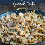 Sausage spinach pasta is quick, easy, and sure to please the entire family. A creamy tomato sauce gives it tons of flavor!