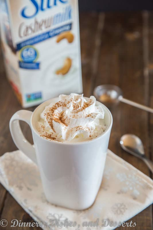 Cashew Milk Pumpkin Steamer - a hot cashew milk drink with pumpkin and pumpkin pie spice.  Perfect way to warm up this holiday season.