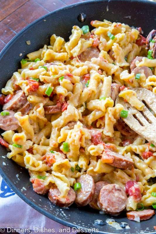 sausage pasta skillet in a pan
