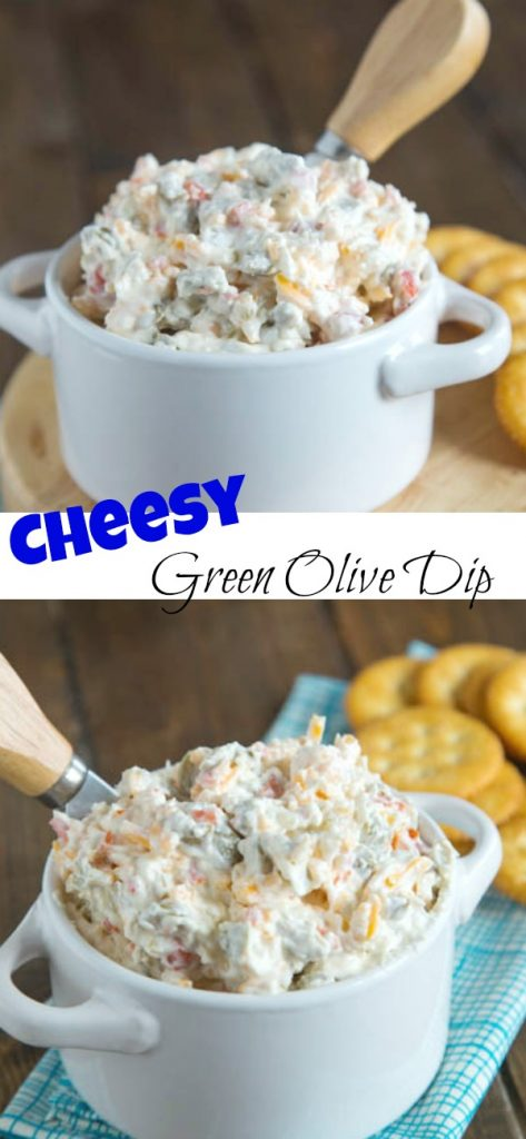 cheesy green olive dip in a bowl