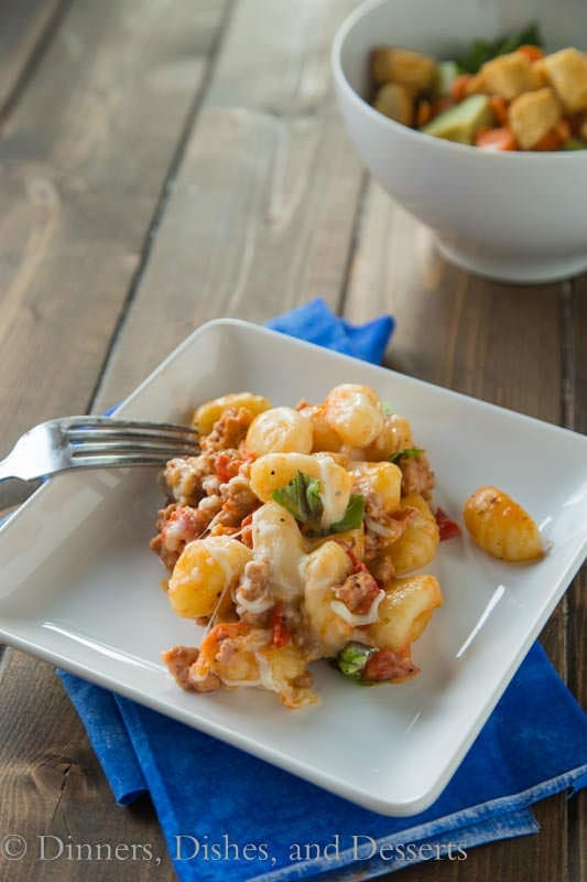 Cheesy Gnocchi Skillet - lightened up comfort food!