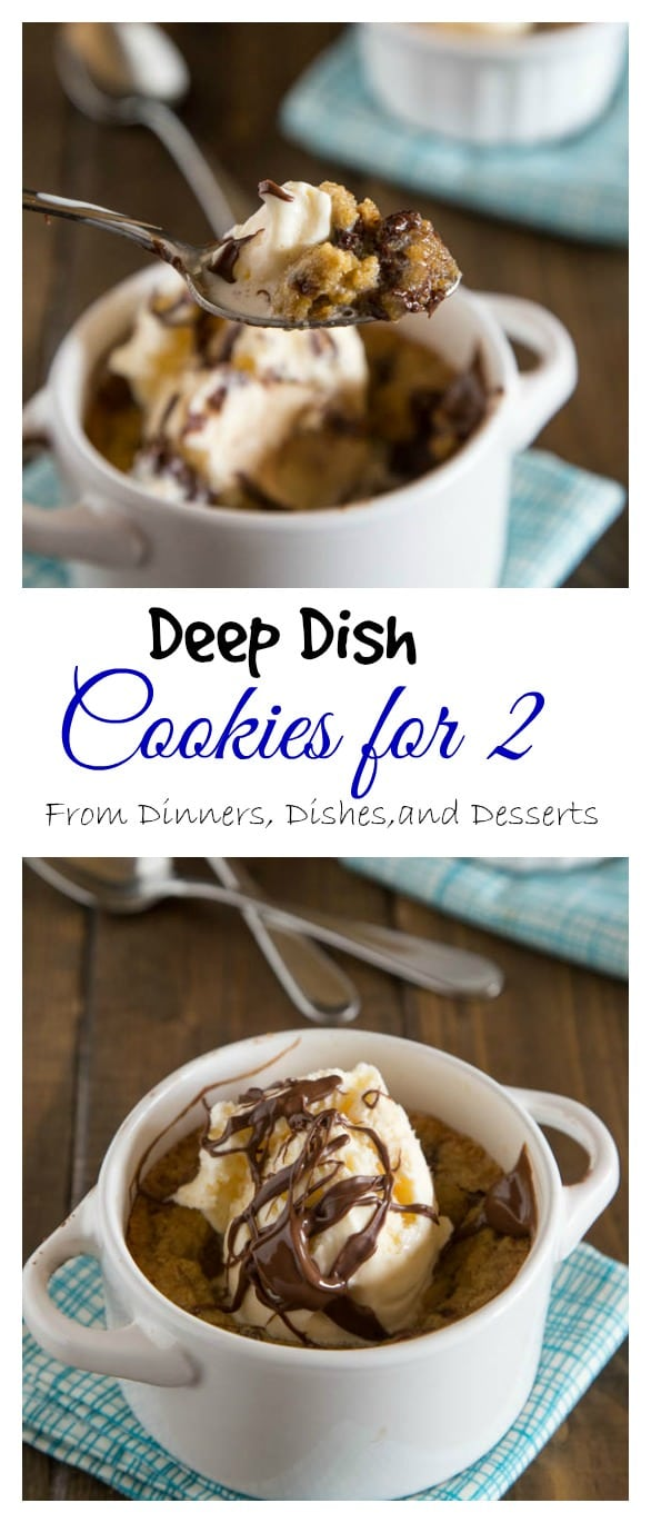 Deep Dish Chocolate Chip Cookies for Two -An ooey, gooey, chocolate-y deep dish cookie that makes just enough for two people. A homemade version of the famous Pizookie.