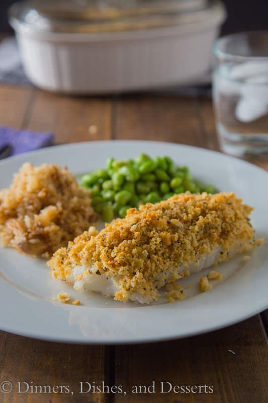 Cracker Crusted Cod - mild white fish baked with a coating of buttery Ritz crackers. Great on other white fish or even chicken!