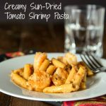 Creamy Sun-dried Tomato Shrimp Pasta - a super easy pasta dish with shrimp, and a super creamy delicious sun-dried tomato sauce.