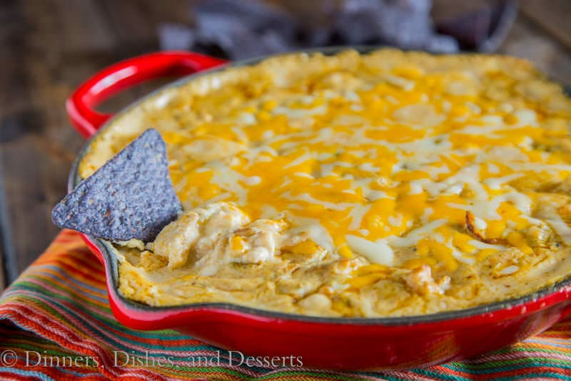 Green Chile Chicken Enchilada Dip {Dinners, Dishes, and Desserts}