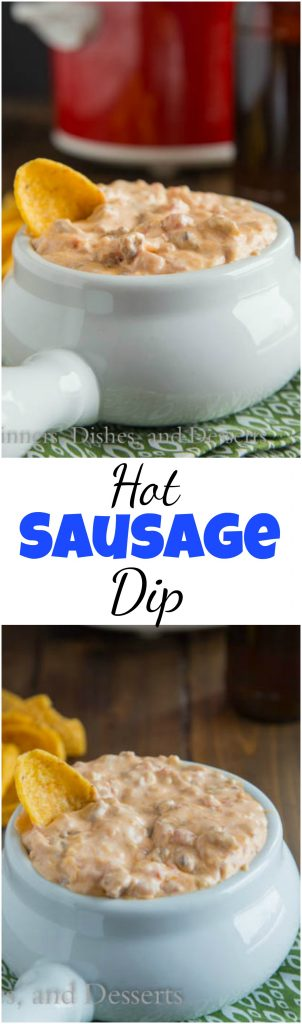 Hot Sausage Dip - a creamy, cheesy, hot sausage cheese dip that is perfect for any get together. Make ahead and heat in the crock pot for the big game! #recipe #food #dip #cheesy #sausagedip #gameday #footballfood #superbowl #snacks #appetizers #cheesedip