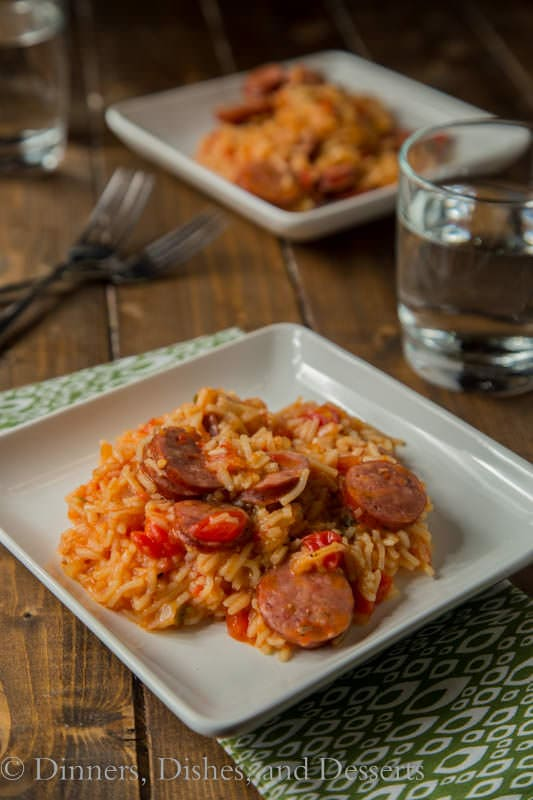 Spicy Sausage Spanish Rice Skillet – turn box rice mix into a full meal! Just one pan, and a couple ingredients and you have a whole meal the family will love!