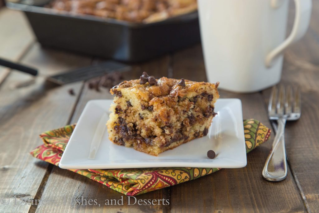 Chocolate Chip Coffee Cake {Dinners, Dishes, and Desserts}