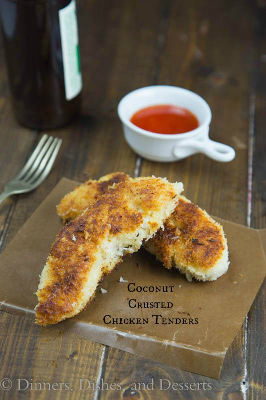 Coconut Crusted Chicken Tenders - super crispy homemade chicken tenders that are coated in shredded coconut! Perfect for a quick dinner for the whole family!