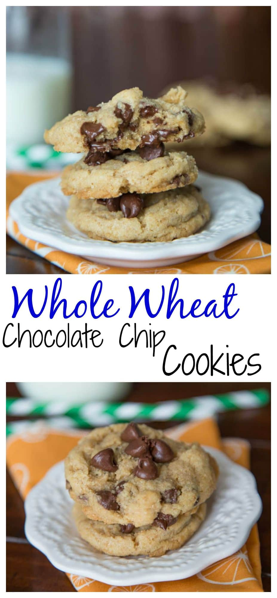 Whole Wheat Chocolate Chip Cookies - Soft and chewy cookies that just happen to be a little better for you.  No one will ever know there is no butter and these are whole wheat!