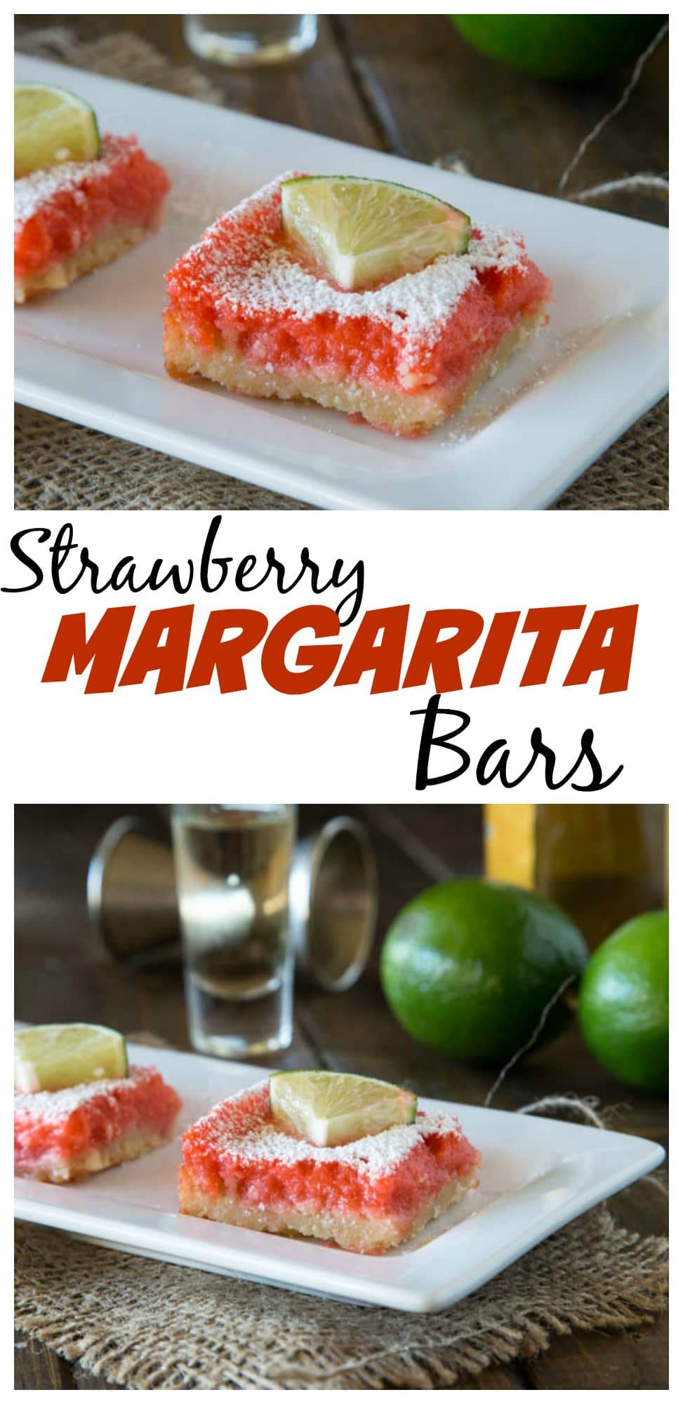 close up of strawberry margarita bars on a plate