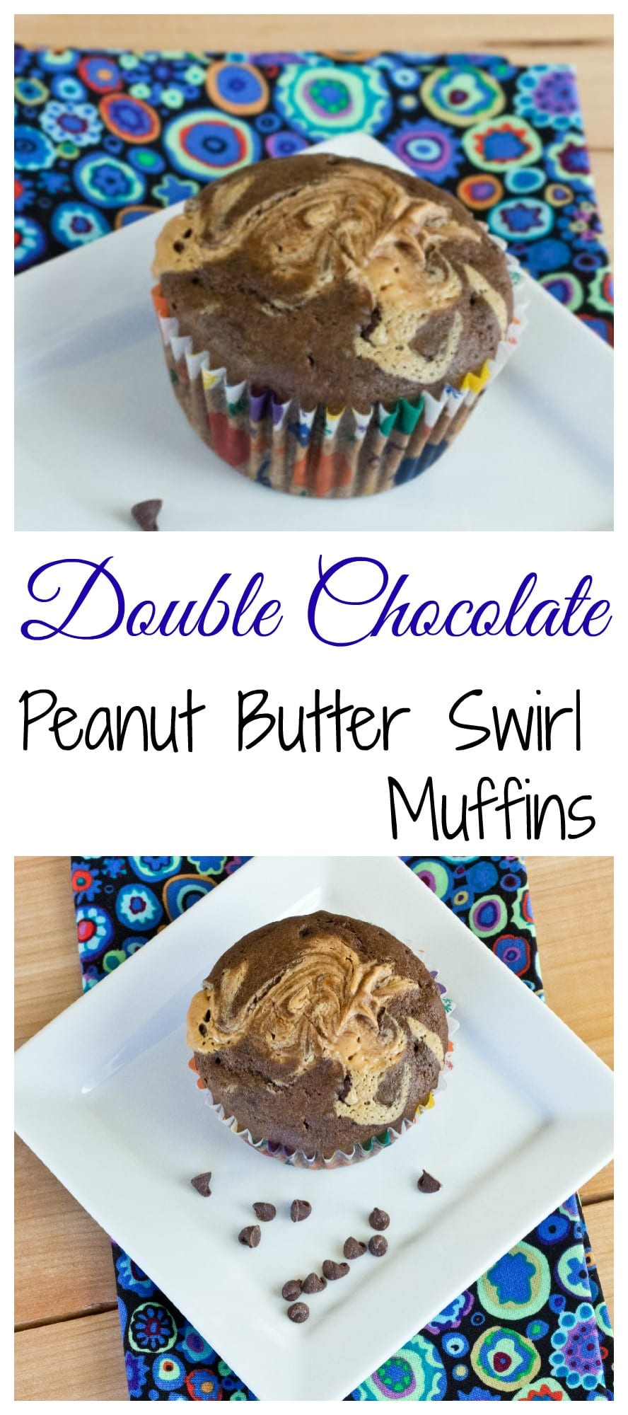 Soft and tender Double Chocolate Muffins, with a swirl of peanut butter on top!