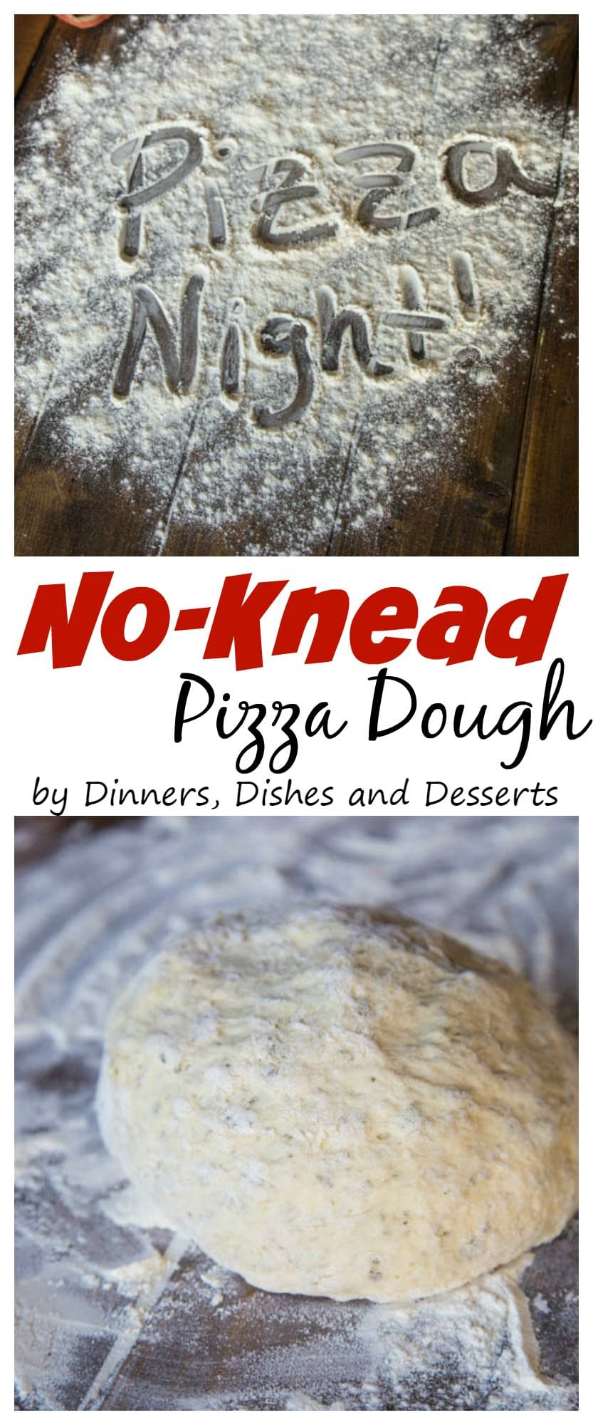 No Knead Pizza Dough - Make homemade pizza at home with this super easy no knead pizza dough!