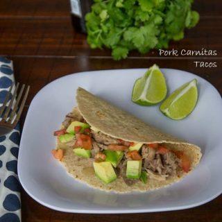 pork carnitas tacos on a plate