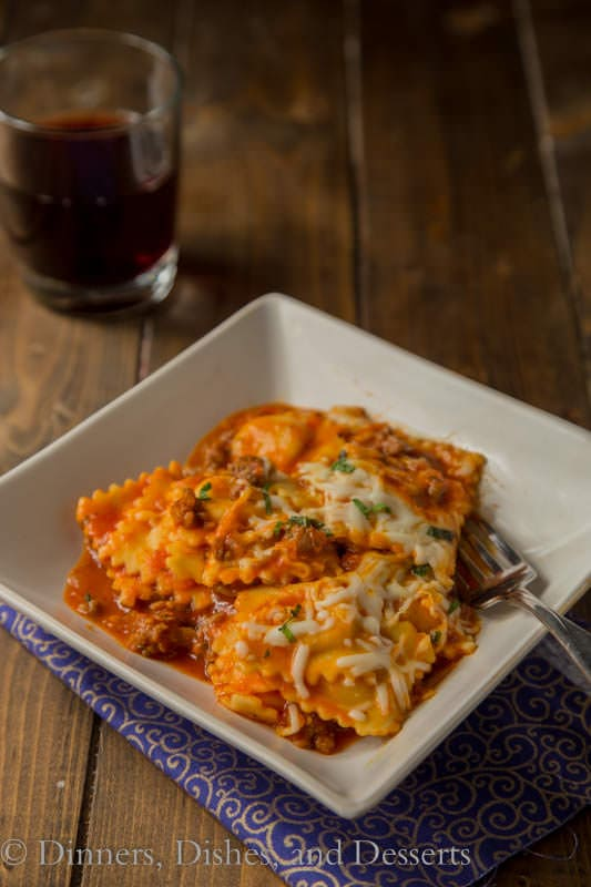 Skillet Lasagna - use store bought ravioli for a super quick and easy one pan meal on a weeknight.