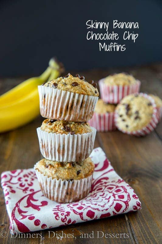skinny banana chocolate chip muffins on a napkin