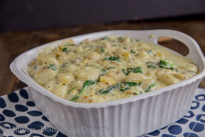 Creamy Spinach & Artichoke Gnocchi {Dinners, Dishes, and Desserts}