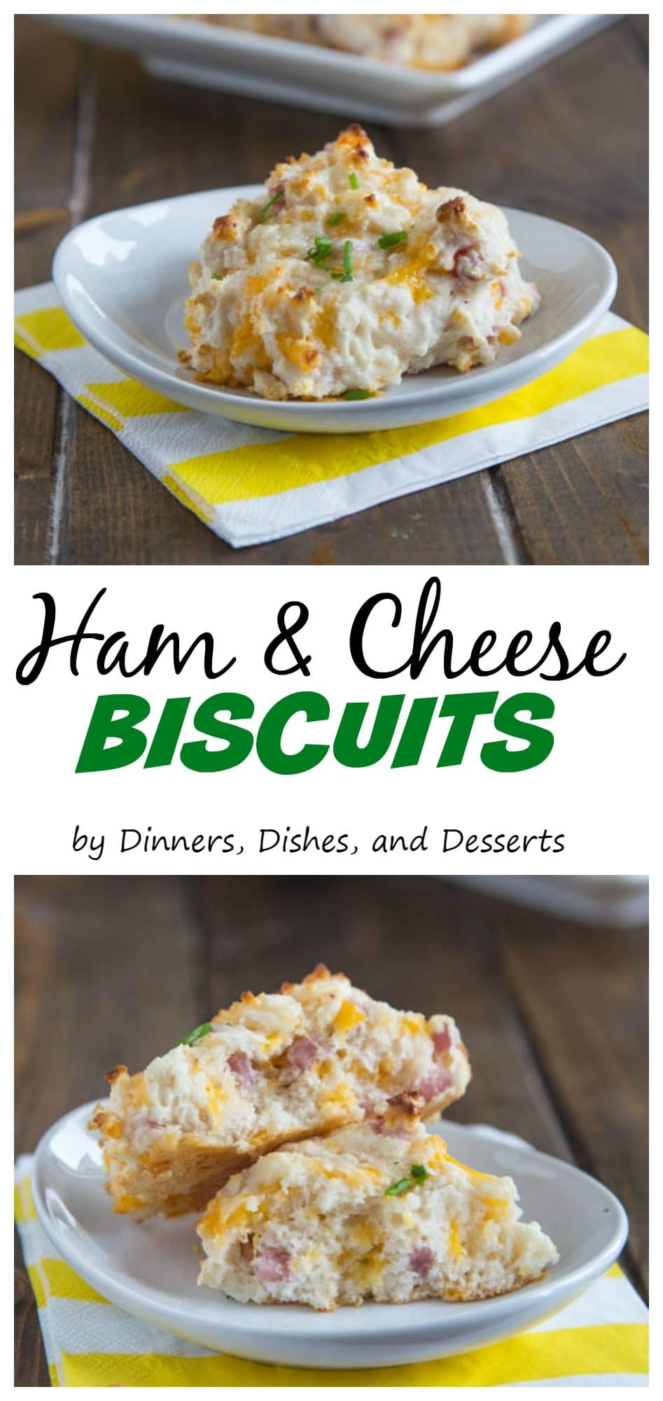 >Ham & Cheese Biscuits - Fluffy drop biscuits full of cheddar cheese and diced ham. A great side dish, or use of leftover ham.