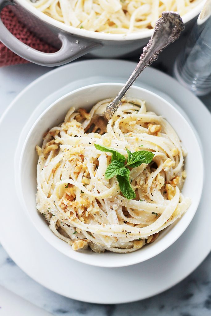 Creamy Pasta with Ricotta, Mint and Garlic Sauce - a quick and easy creamy pasta dish, with garlic, mint and walnuts that is perfect any night of the week.