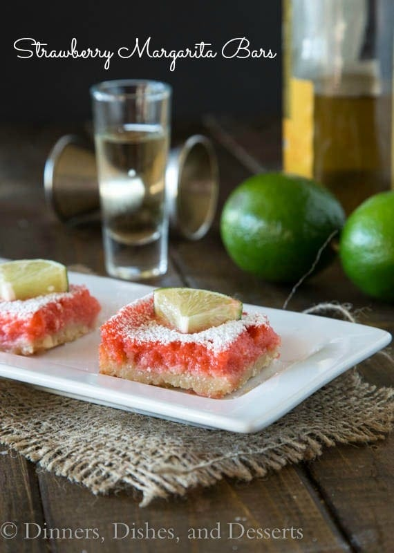 strawberry margarita bars on a plate