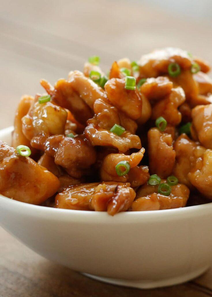 honey sriracha chicken bites in a bowl