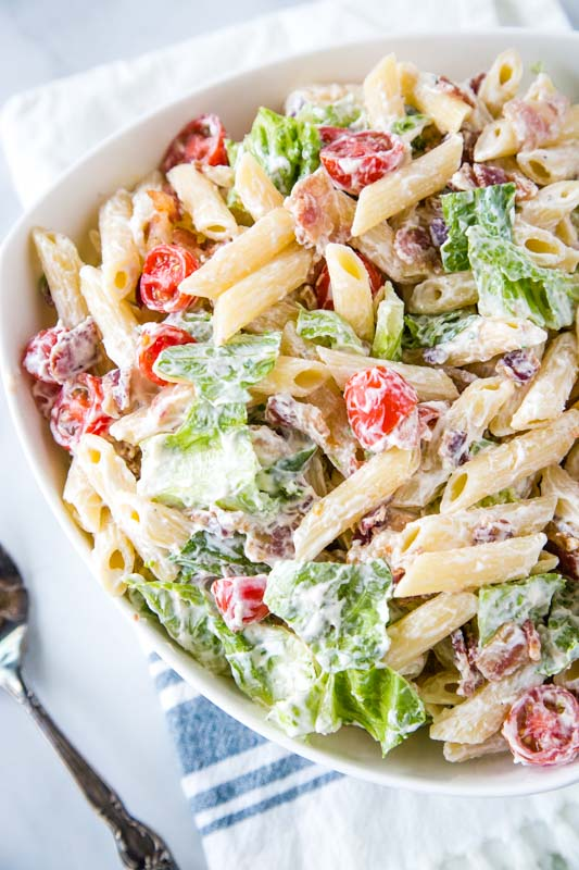 Creamy blt pasta salad is perfect for summer