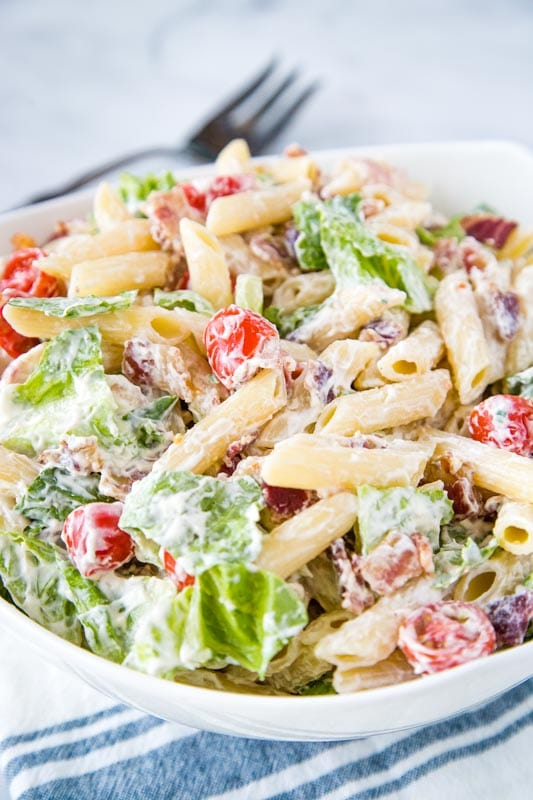Cool and creamy pasta salad with bacon, lettuce and tomatoes!