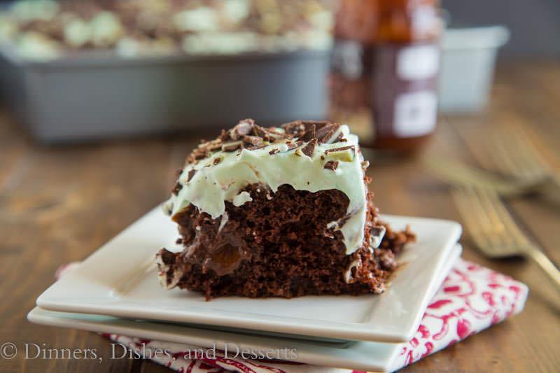 Mint Chocolate Poke Cake – moist chocolate cake covered with hot ...