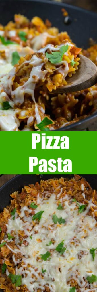 Pizza Pasta Skillet – turn pizza night into a 20 minute, super easy pasta dinner that everyone will go crazy for.