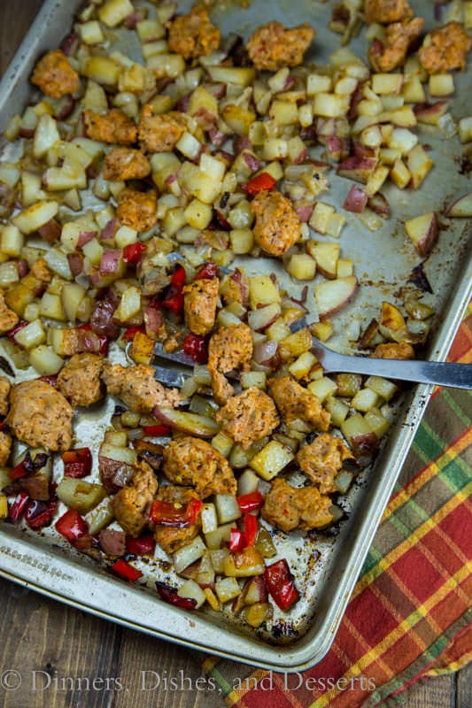 Oven Roasted Potatoes & Sausage - I love an easy one pan meal! This puts oven roasted potatoes with veggies and sausage, all on one pan