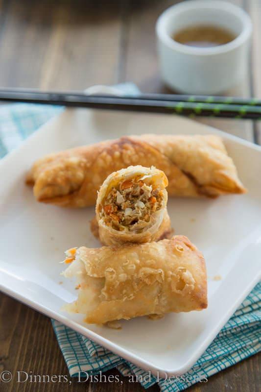 vietnamese egg rolls on a plate