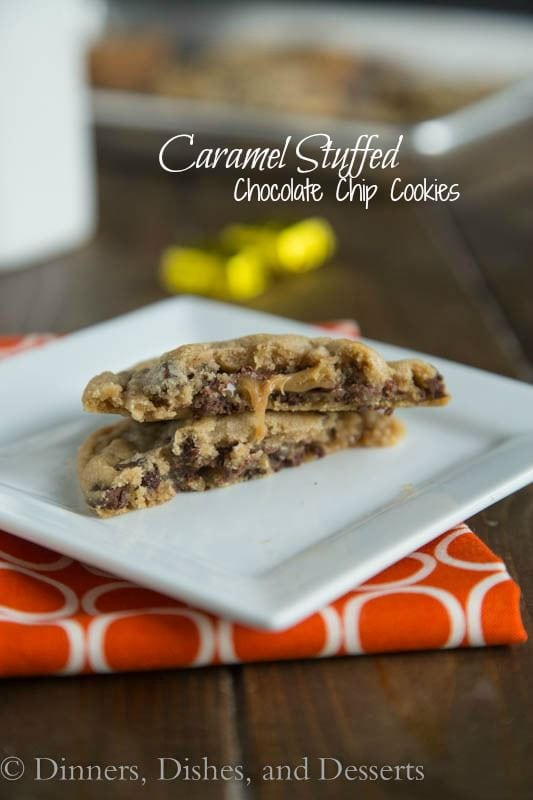 Caramel Stuffed Chocolate Chip Cookies - Thick and chewy chocolate chip cookies that have a chocolate and caramel candy stuffed inside. Ooey, gooey, and delicious!