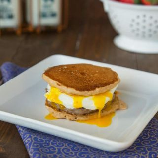 Pancake breakfast sandwiches are brinner - breakfast for dinner! Make them at home using pancakes, sausage, egg, and cheese.
