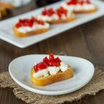 Piquillo Pepper and Goat Cheese Crostini