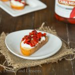Piquillo Pepper & Goat Cheese Crostini {Dinners, Dishes, and Desserts}