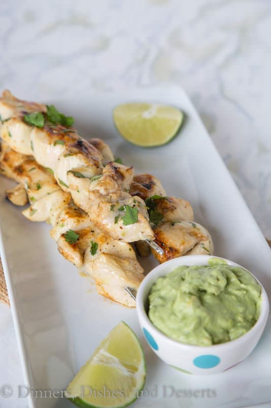 Cilantro Lime Chicken – chicken kebabs marinated in garlic, cilantro, jalapeno and lime juice. A quick and easy grilled chicken dinner the whole family will ask for again and again.
