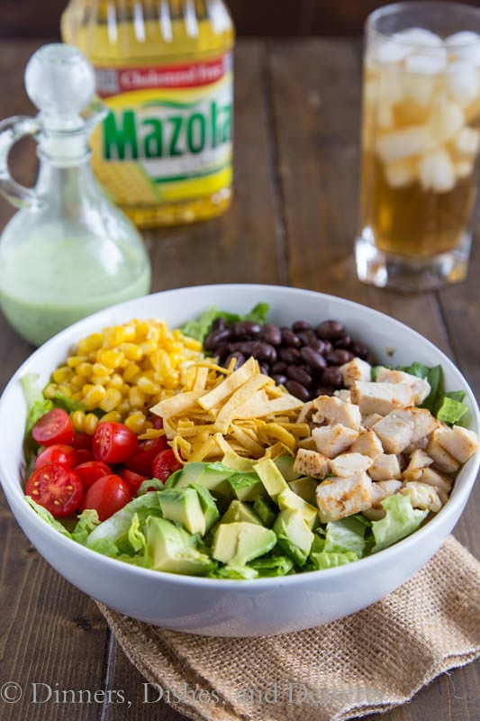 Southwestern Cobb Salad - A classic Cobb salad with a Southwestern, tex-mex twist!  Topped with a creamy cilantro lime dressing for a hearty, filling, and delicious salad.