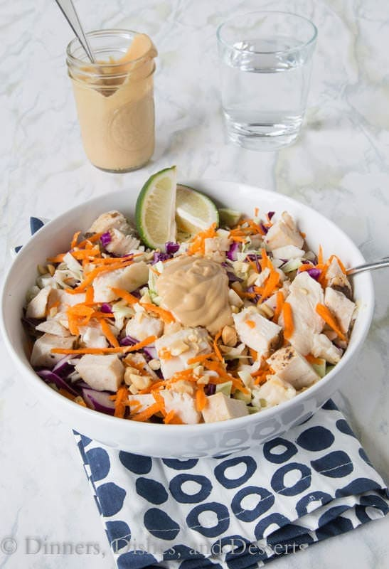 Thai Chicken Salad - turn up your salad game with a Thai style chopped salad.  Topped with chicken, veggies, and a peanut dressing make for a filling salad.