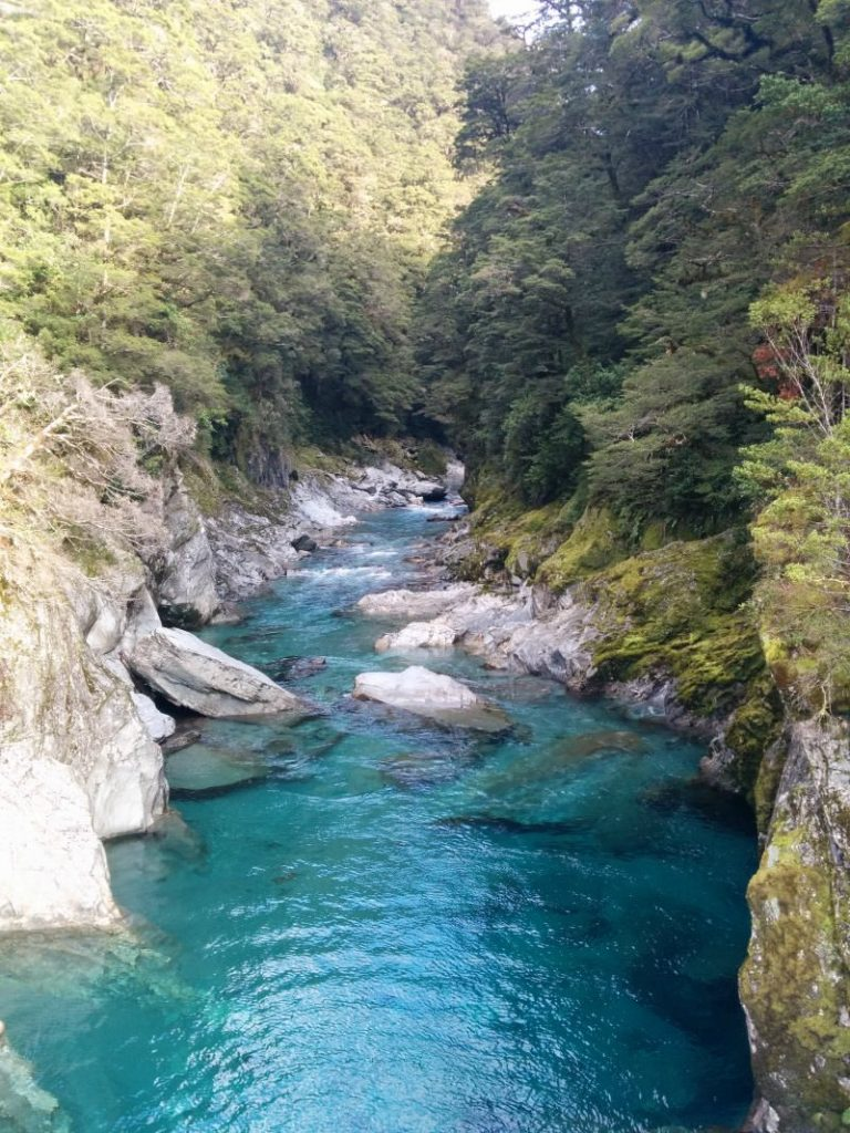 Amazingly clear blue waters off Haast Pass New Zealand