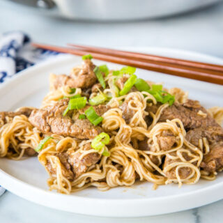 pork lo mein on a plate