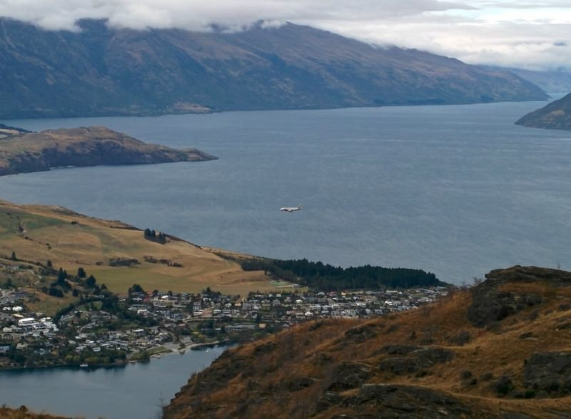 Queenstown Hill Walkway - a 5 km hike to the view of the lake and town.  Above the flight path to the airport