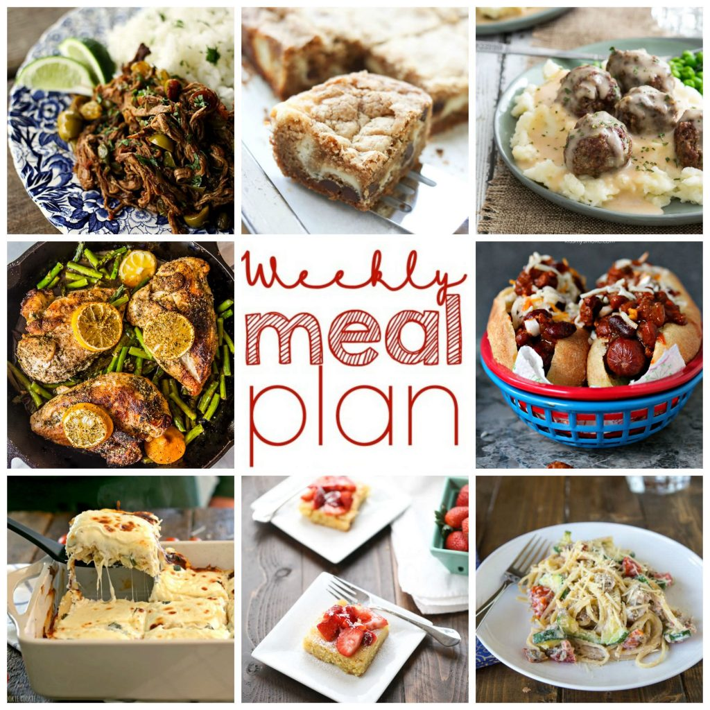 Weekly Meal Plan featuring 6 dinner recipes and 2 desserts - quick, easy and delicious recipes for your week!