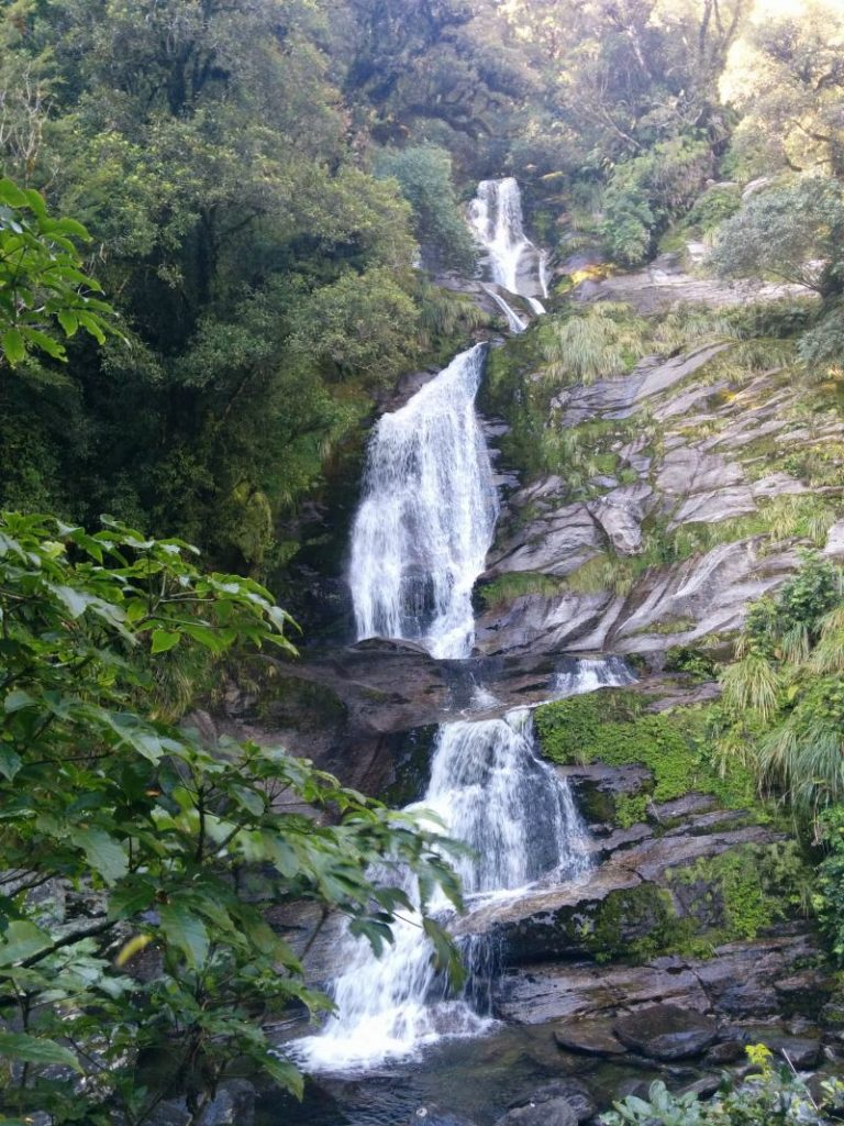 Waterfall along Haast Pass in New Zealand
