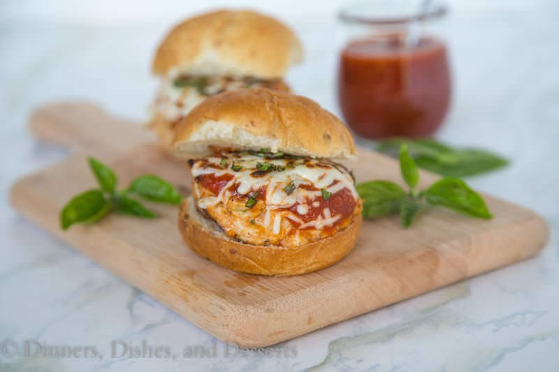 Parm Style Chicken Burgers {Dinners, Dishes, and Desserts}
