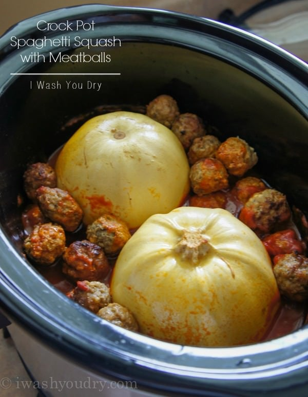 Slow Cooker Spaghetti Squash with Meatballs {I Wash...You Dry}