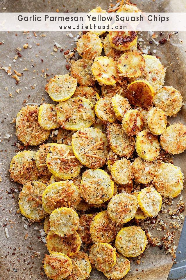 Garlic Parmesan Yellow Squash Chips {Diethood}