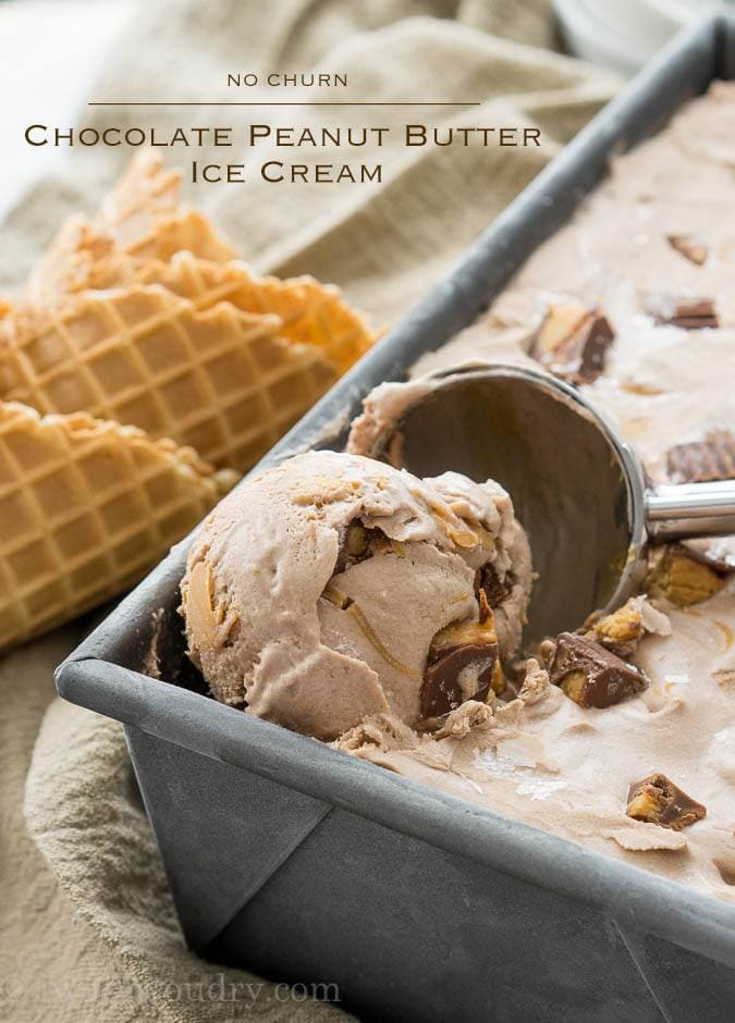 No Churn Chocolate Peanut Butter Ice Cream {I Wash...You Dry}