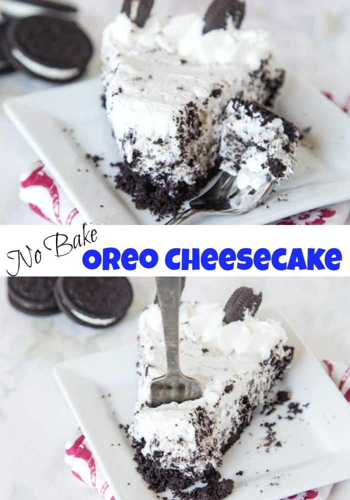oreo cheesecake with bite on a fork